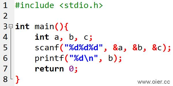NOI1.1-02输出第二个整数