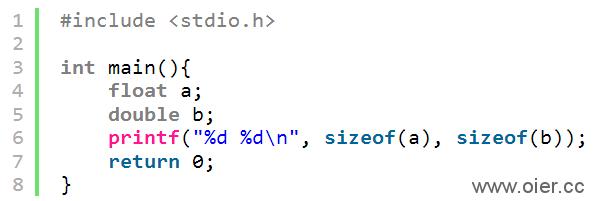 NOI1.2-02浮点型数据类型存储空间大小